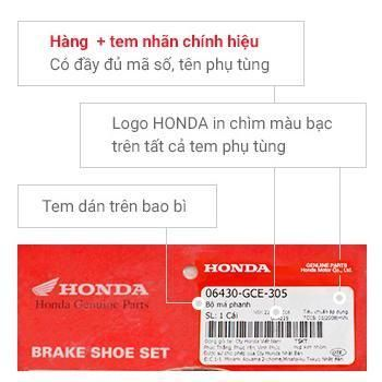 Tem phụ tùng chính hiệu Honda