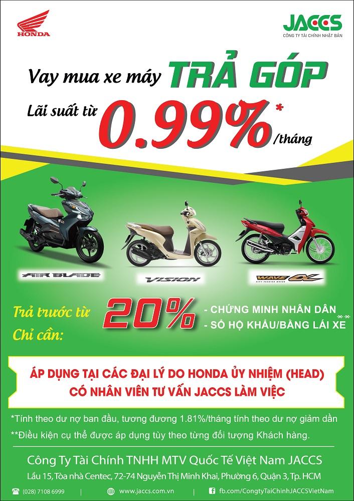 Sở hữu xe Honda Air Blade, Vision, Anpha lãi suất ưu đãi từ 0,79%
